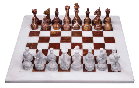 Chess Set- Red Onyx & White Marble - Marble Products International