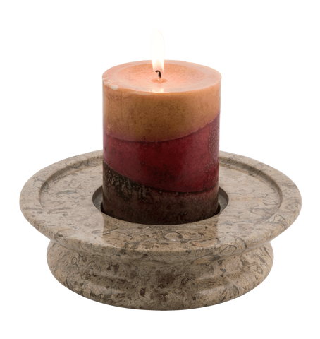 3 Tier Candle Holder - Fossil Stone - Marble Products International