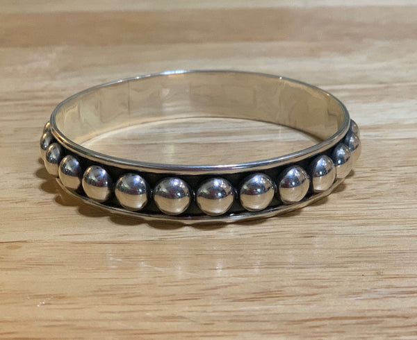 Sterling Silver Beaded Bangles