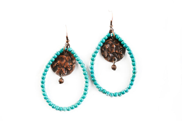 Worn Copper & Turquoise w/Indian Charm