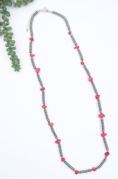 Silver Beaded Necklace with Stone Accents