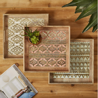 Patterned Hand carved Wooden Trays