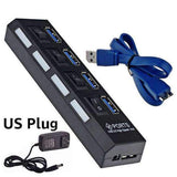 4 and 7 Ports USB 3.0 Hub with Power Adapter-toys & gadgets-US plug black 4 port-Neptune Wild