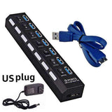 4 and 7 Ports USB 3.0 Hub with Power Adapter-toys & gadgets-US plug black 7 port-Neptune Wild