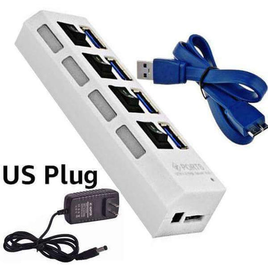 4 and 7 Ports USB 3.0 Hub with Power Adapter-toys & gadgets-US plug white 4 port-Neptune Wild