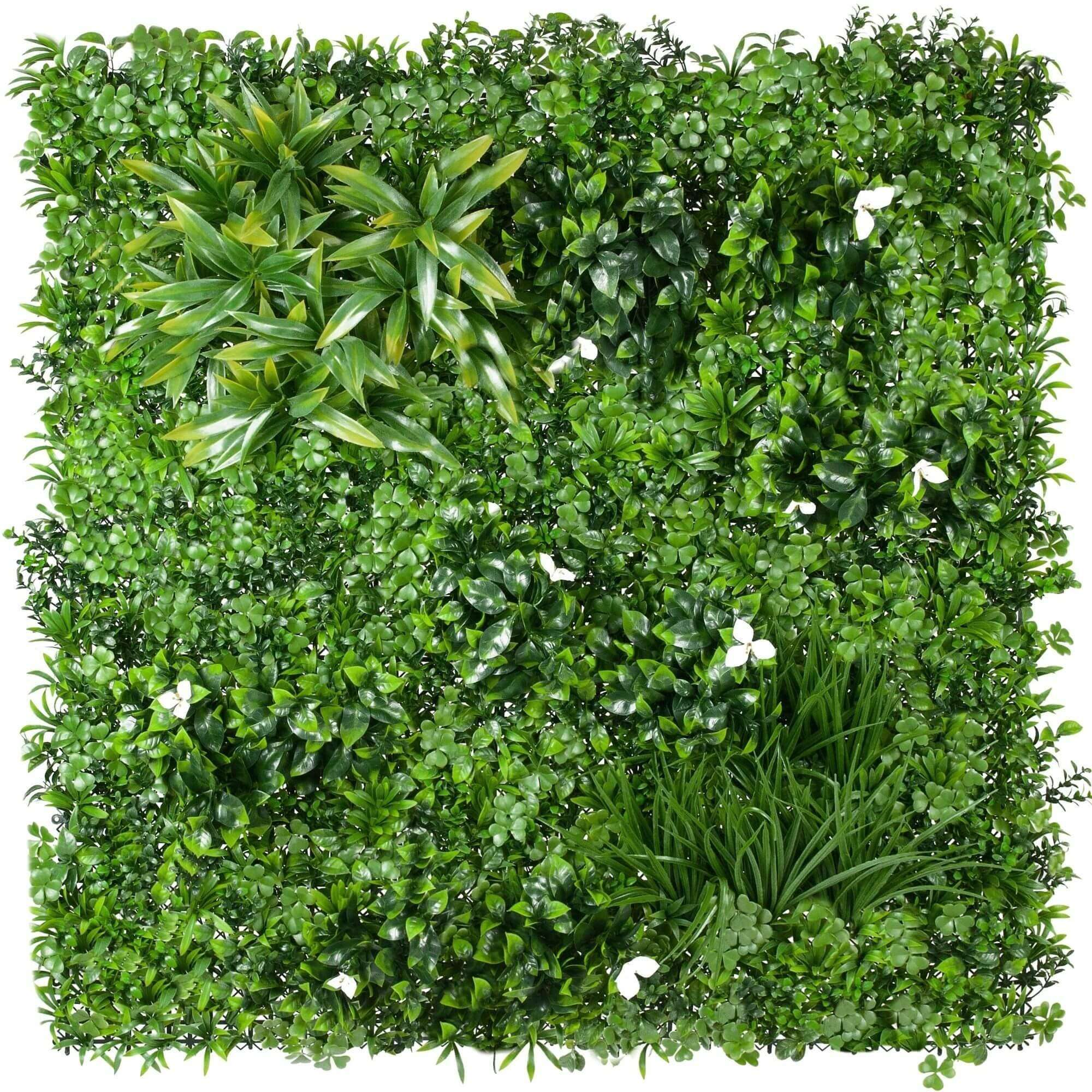 White Lily Artificial Vertical Garden / Fake Green Wall 1m x 1m UV Resistant