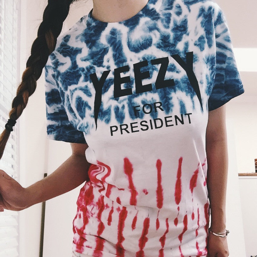 Yeezy For President American Flag Tie Dye T-Shirt - infinity owl