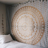 Golden Indian Mandala Tapestry - infinity owl