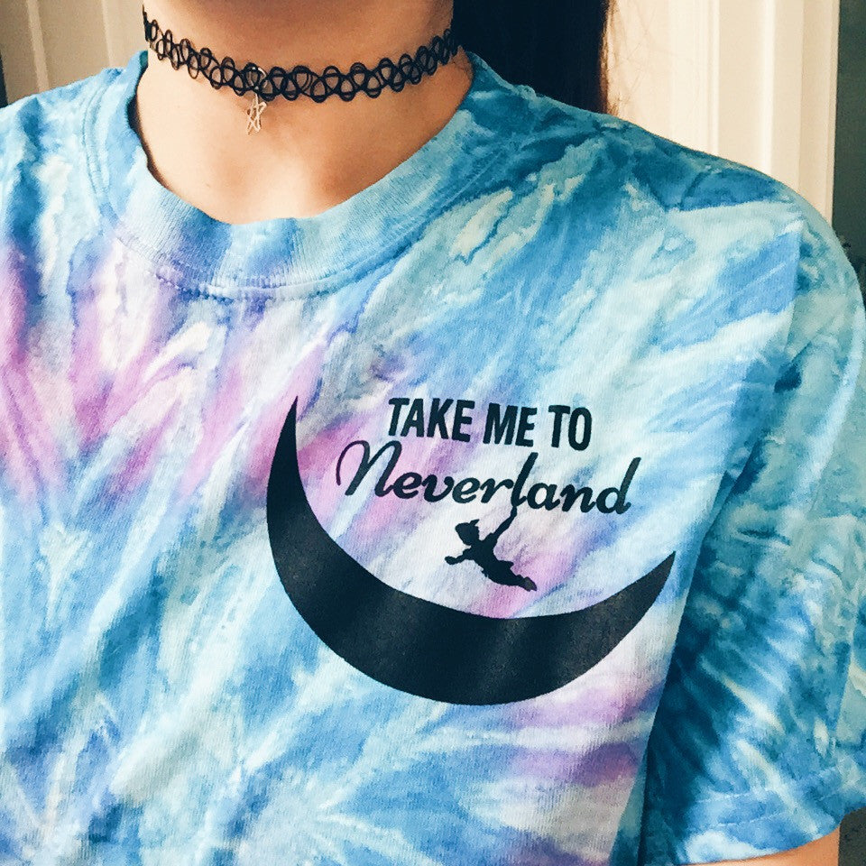 Take Me To Never Land Tie Dye T-Shirt - infinity owl