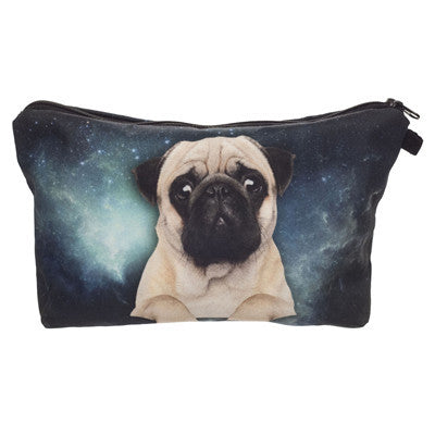 Crazy Animals Pug Makeup Bags Black - infinity owl