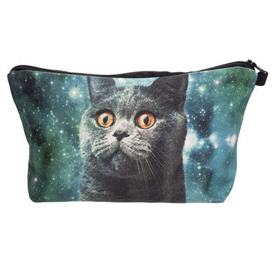 Crazy Animals Galaxy Cat Makeup Bags Pink - infinity owl