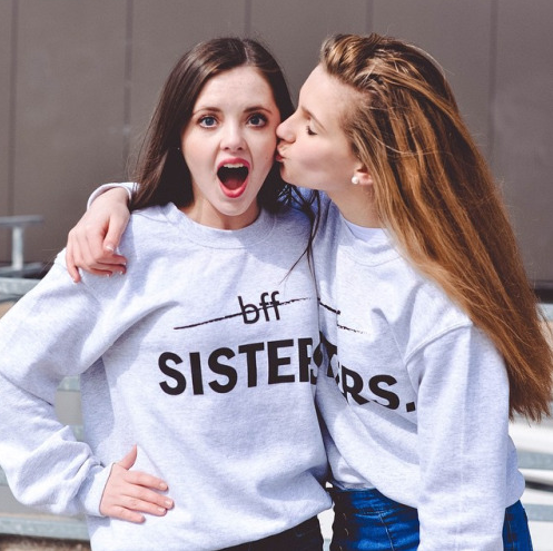 BFF? Sisters Graphic Tops - infinity owl