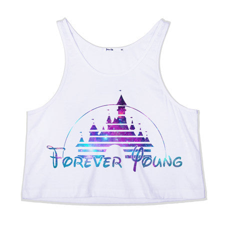Forever Young Crop Tank Top - infinity owl