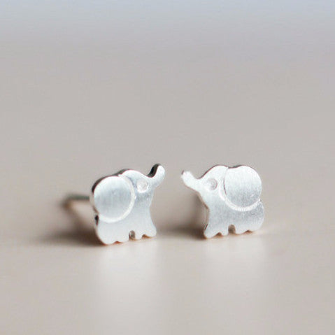 Cute Baby Elephant Silver Earrings - infinity owl