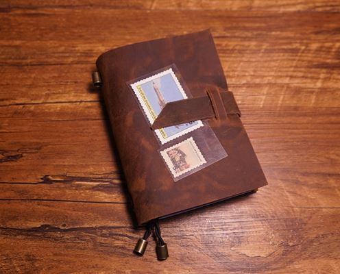 Handmade Leather Notebook - infinity owl