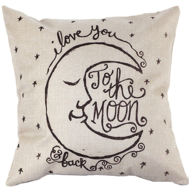 Vintage Cover I Love You to the Moon and Back Pillow Case