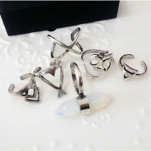 Cindy Bohemian 6pcs/Pack Vintage Anti Silver Rings Set - infinity owl