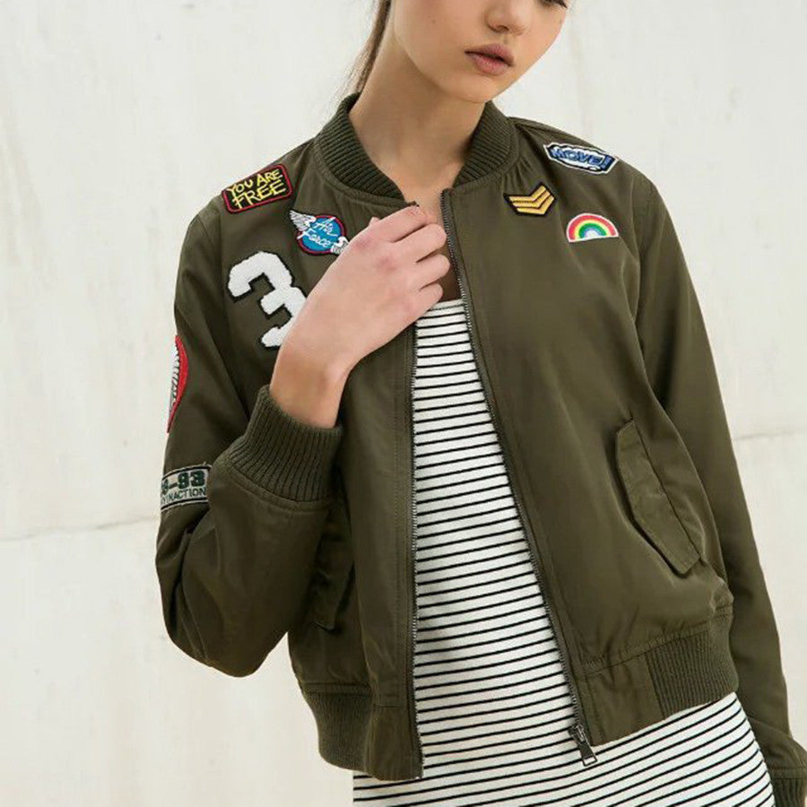 Army Green Embroidered Patches Women Bomber Jackets - infinity owl