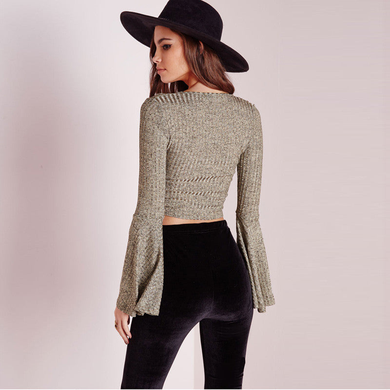 Lily V Neck Flare Knitted Long SLeeves - infinity owl