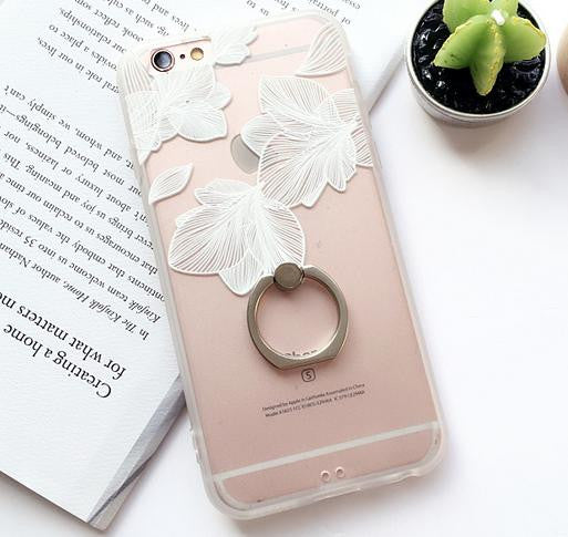 Ring Grip Lace Flower Pattern Case