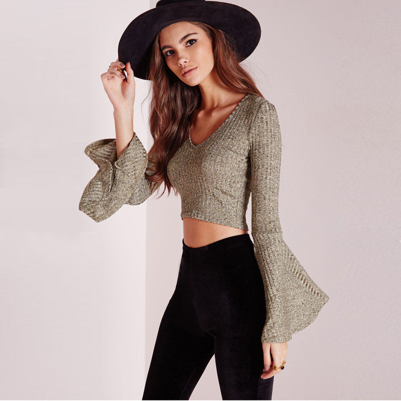 Lily V Neck Flare Knitted Long SLeeves