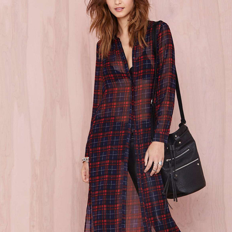 See Through Flannel Dress