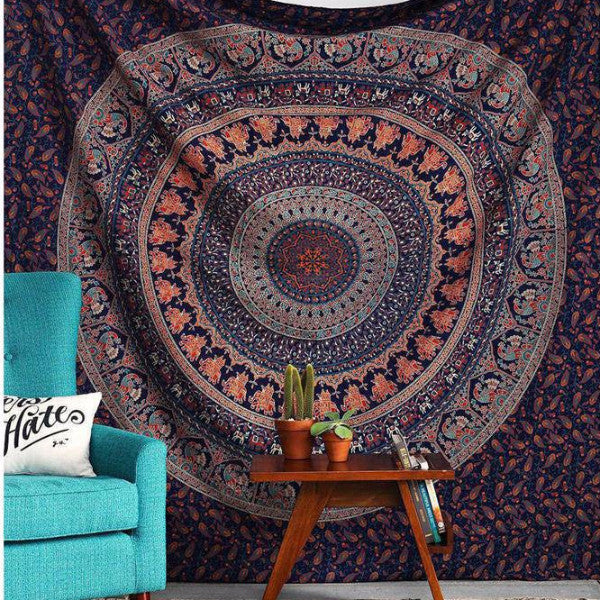Deep Purple Indian Bohemian Mandala Tapestry - infinity owl