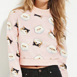 Cute Kitty All Over Print Cropped Sweatershirts - infinity owl
