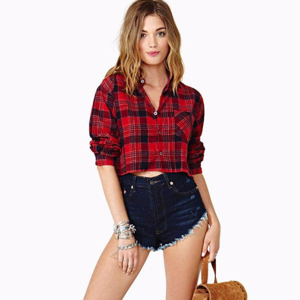 Coco Red Cropped Flannel - infinity owl
