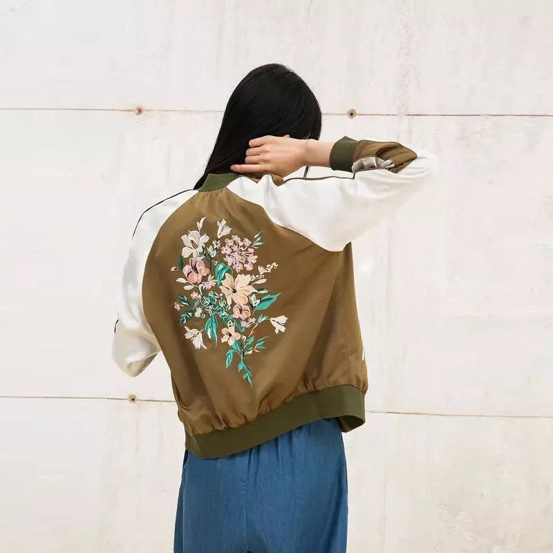 Olive Floral Embroidery Bomber Jacket