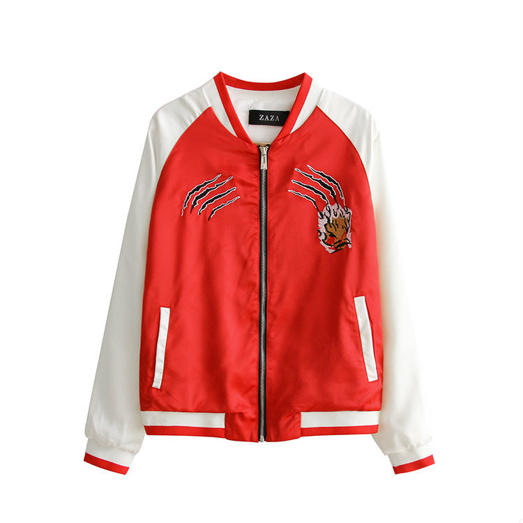 Red Tiger Embroidery Bomber Jacket