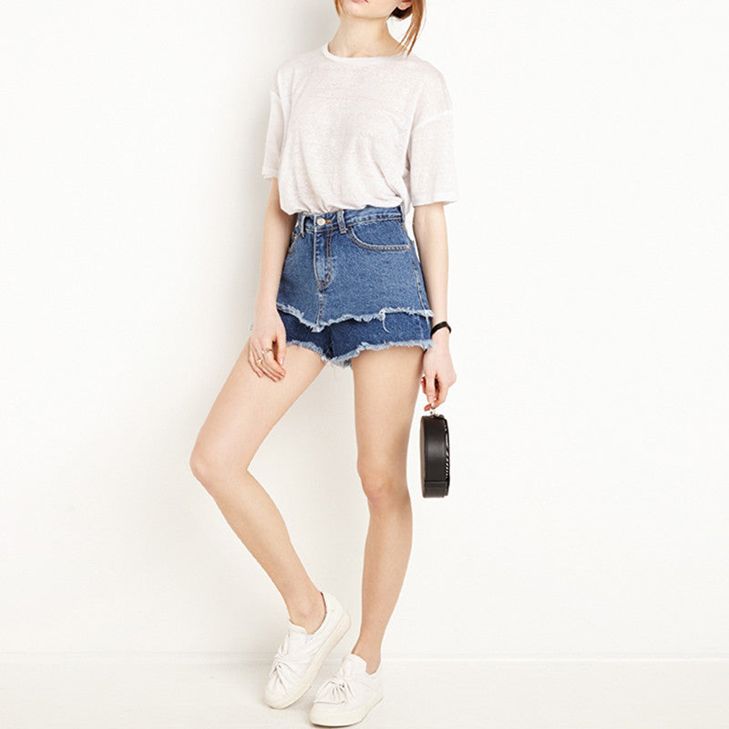 Cindy Double Layers Denim Shorts - infinity owl