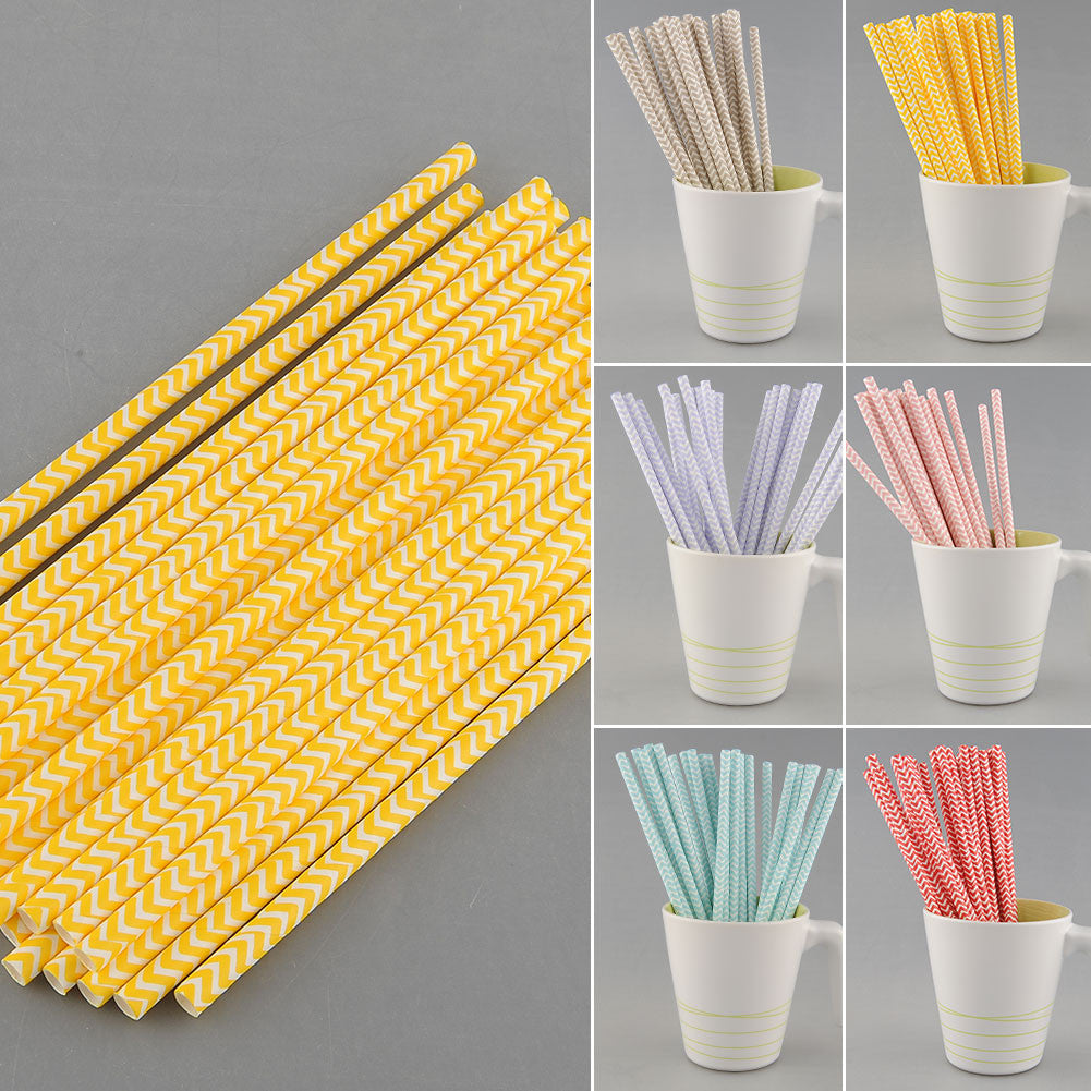 25 PCS Chevron Striped Paper Straws - infinity owl
