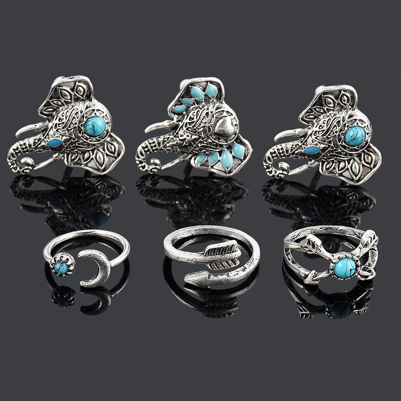6pcs Bohemian Vintage Anti Silver Elephants Rings Set - infinity owl