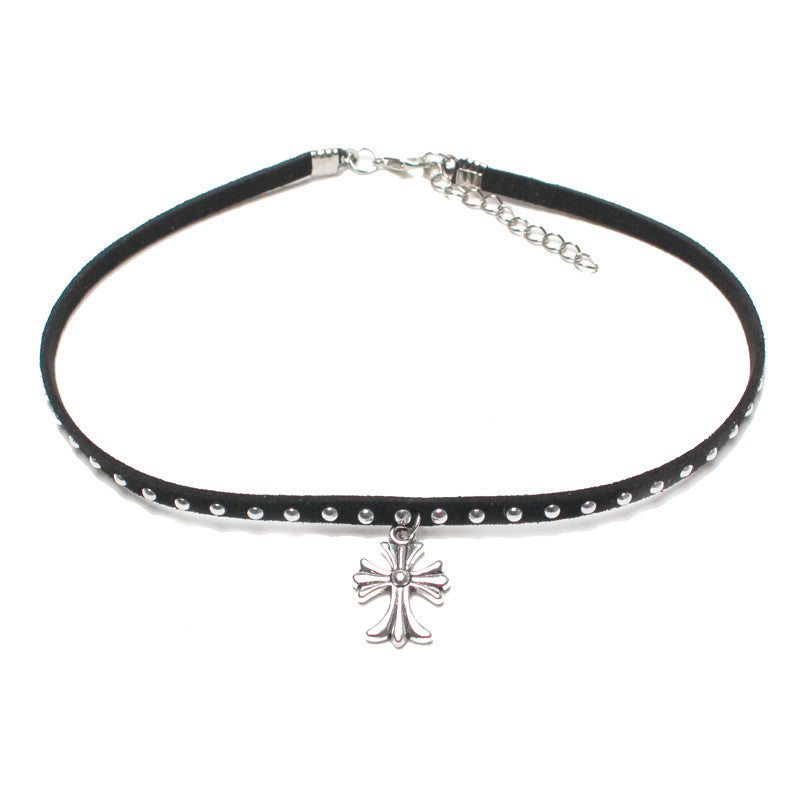 Holy Cross Black Choker - infinity owl