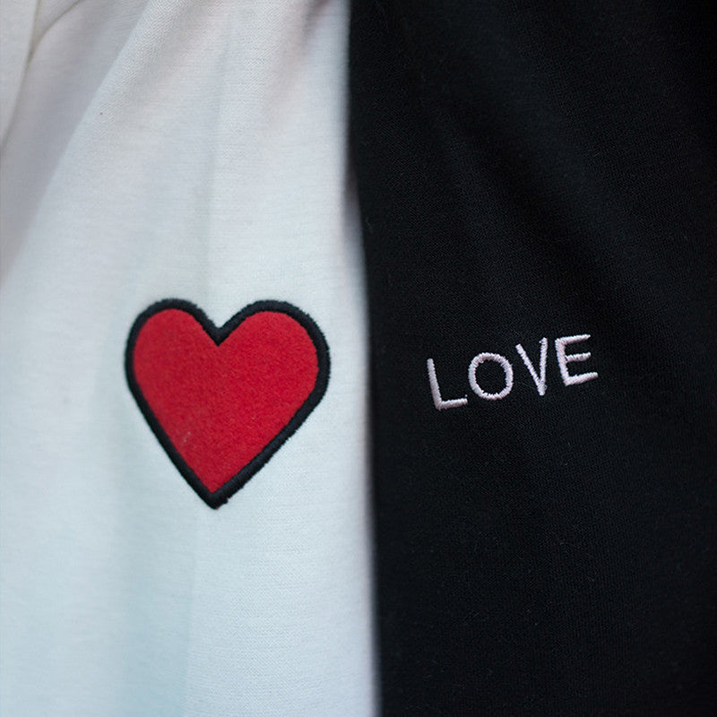 Love Embroidery BFF Hoodies