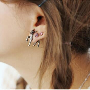 Deer Earrings - infinity owl