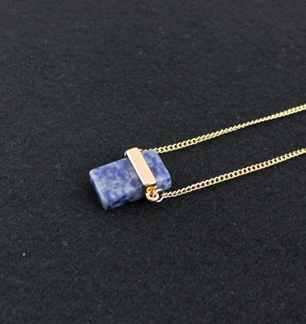 Natural Blue Crystal Necklace