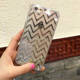 Glitter Block Liquid Plastic iPHONE Case - infinity owl