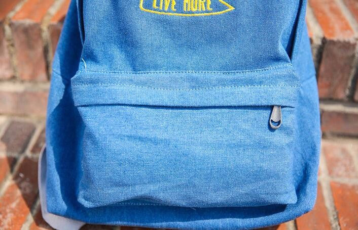 Embroidered Think Less Live More Washed Denim Backpack - infinity owl