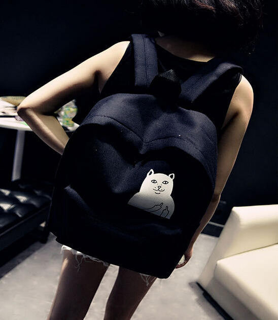 F U Funny Cat Backpack - infinity owl