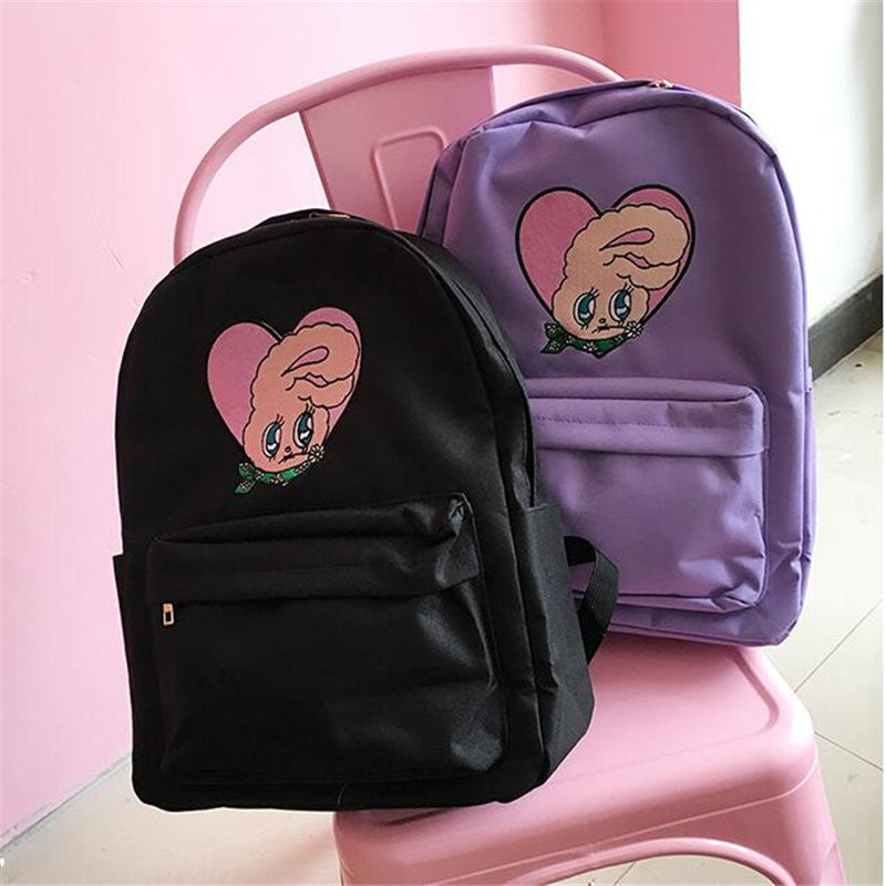 Preppy Cute Rabbit Embroidery Backpack