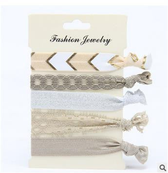 Elegant Ivory Hair Ties Set - infinity owl
