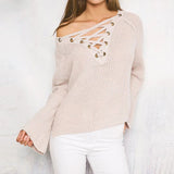 Flare Sleeve Knitted Sweater - infinity owl