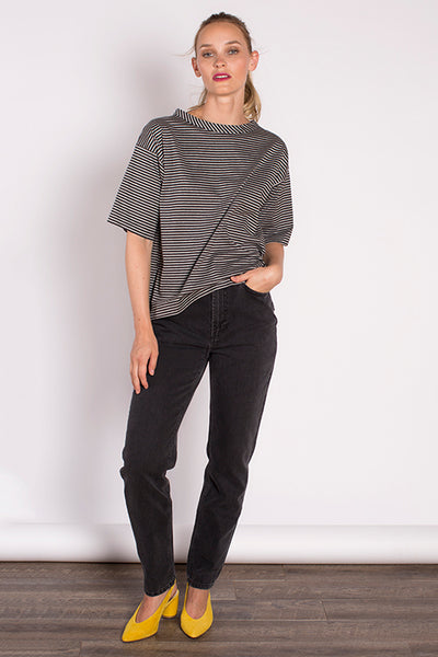Georgina Top in Grey Stripe