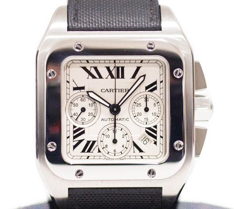 Preowned Cartier Santos Chronograph in Steel