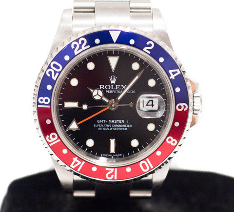 "Preowned Rolex GMT Master II ""Pepsi"" Stick Dial 16710"