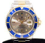 Preowned Rolex Submariner in Half Gold w/ Serti Dial 16613