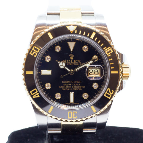Preowned Rolex Submariner Ceramic in Half Gold 116613GLN