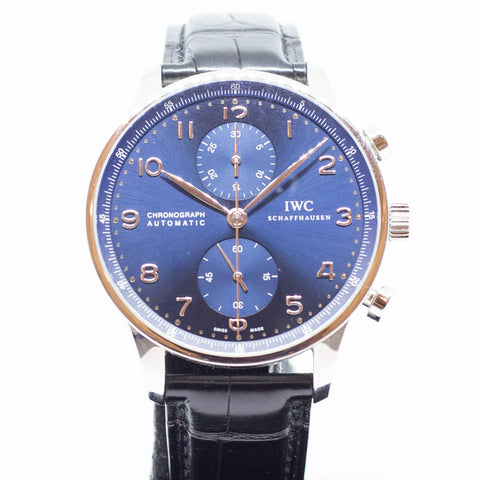 Like New IWC Portuguese Chronograph Blue Dial IW371491